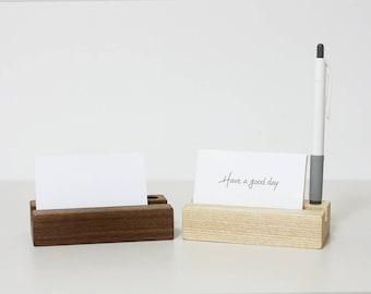 Ash wood memo and pen holder / Office Supplies / message holder / wooden memo holder