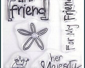 5 FRIENDSHIP CROWN SCRAPBOOKING CLEAR STAMP SET