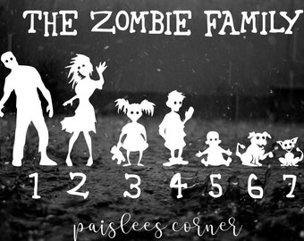 Zombie Family Car Decals, Zombie Lovers, You Choose Color, Quantity, Family Members