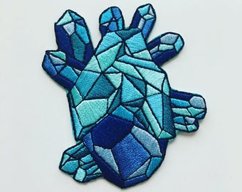"""3"""" Blue Geo Heart Embroidered Patch"""