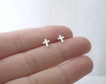 Tiny silver cross post earrings - sterling silver studs - chic modern jewelry