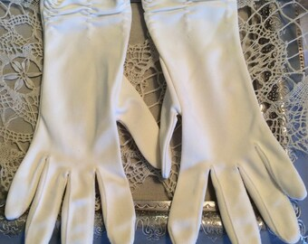 Vintage Gloves above Wrist White-Gathered-Day or Evening-Nylon-Vintage Accessories-Gloves White-Formal Gloves-Accessories