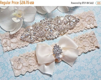 ON SALE Bridal Garter, Pearl Wedding Garter Set, Ivory Lace Garter, Crystal Rhinestone Garter with Pearls, Catherine Style 10822
