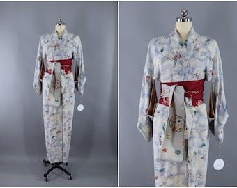 Vintage Silk Kimono Robe / Vintage Dressing Gown / Vintage Lingerie Robe / Loungewear / 1960s / Blue Clouds