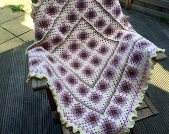 Beautiful crochet shabby chic blanket
