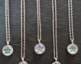 Forget-me-not Necklace - 10mm Silver Pendant - Gift for her - Gifts from the garden - Minimalist Jewellery - Valentines Day Gift