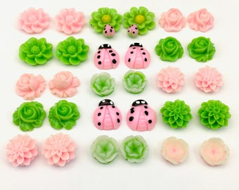 30 pcs resin cabochon flowers ,assorted sizes,12mm to 23mm#FL074