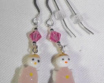 Glass Angel, Swarovski Crystal Earrings & Sterling Silver Ear Wires