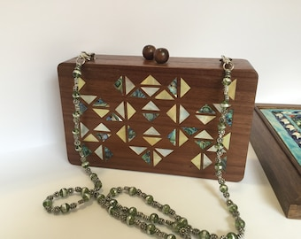 Handbag, Women accessories, Wooden Handbag, Gift for her, Shoulder handbag, Evening handbag, Syrian Mosaic