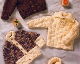 Chunky Cardigans, Sweater And Scarf, Knitting Pattern. PDF Instant Download.