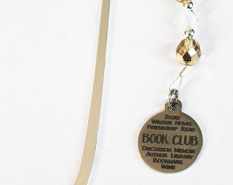 """Handmade Silver Glass Beads Beaded """"Book Club"""" Stainless Steel Heart Charm Metal Bookmark Gift"""