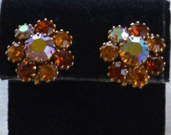 Yellow Topaz Aurora Borealis Rhinestone Floral Clip Earrings, Gold tone, Vintage, (AC4)