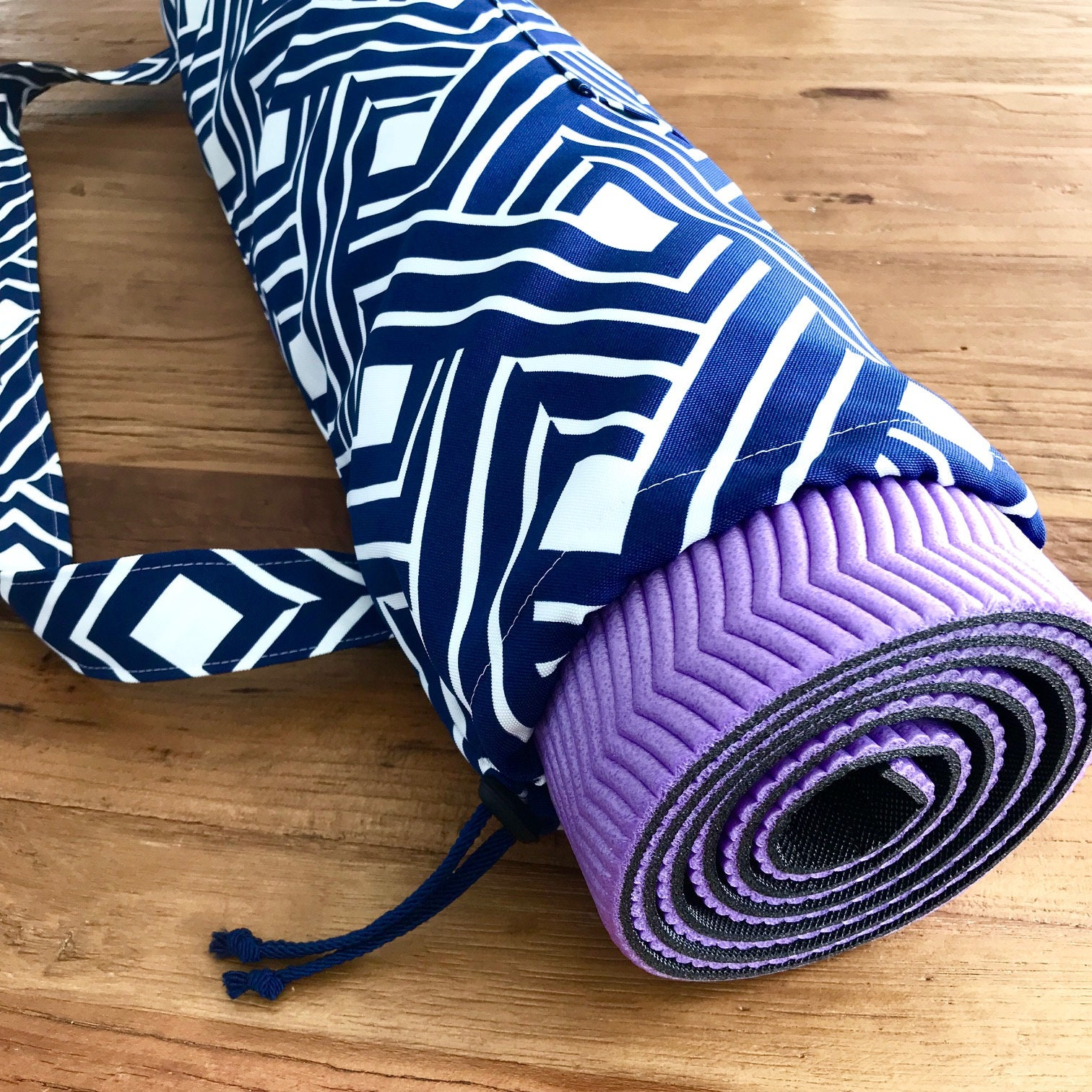 Geometric Navy Yoga Pilates Mat Bag  Carrier  Weatherproof  163e9e3530396