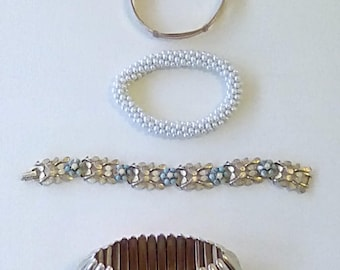 Vintage Instant Collection Bracelets Bangles Jewellery Assemblage Faux Pearls