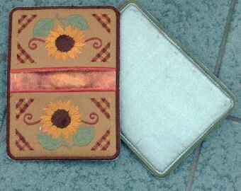 Sunflower potholder, autumn potholder, Embroidered Potholder, brown, orange, floral potholder