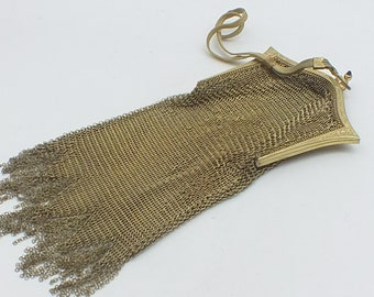 Vintage Whiting and Davis long gold mesh purse