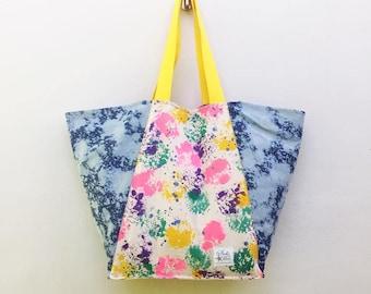 Beach Bunny // Hand Painted Denim Beach Bag