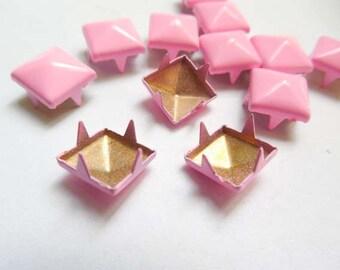 50 Pink Pyramid Square Studs - 9mm - 23-6
