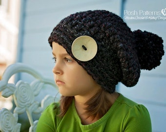 Crochet PATTERN - Crochet Hat Pattern - Crochet Slouchy Hat Pattern - Baby Crochet Pattern - Baby, Toddler, Child, Adult Sizes - PDF 390