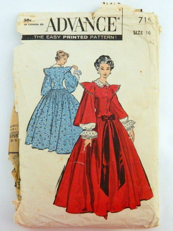 1950\'s Centennial Gown - Advance Sewing Pattern 715 Misses Size 16 ...