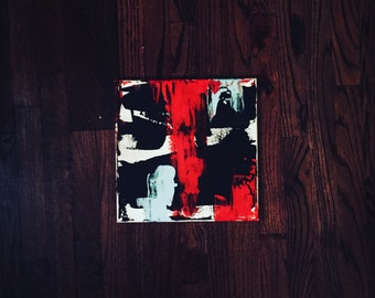Red, Black, Mint Blue Small Acrylic on Canvas
