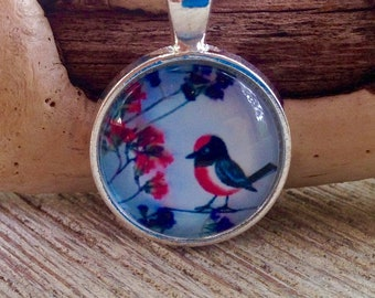 Red robin art pendant, red robin necklace, robin necklace, red robin, art pendant, original art pendant, bird necklace