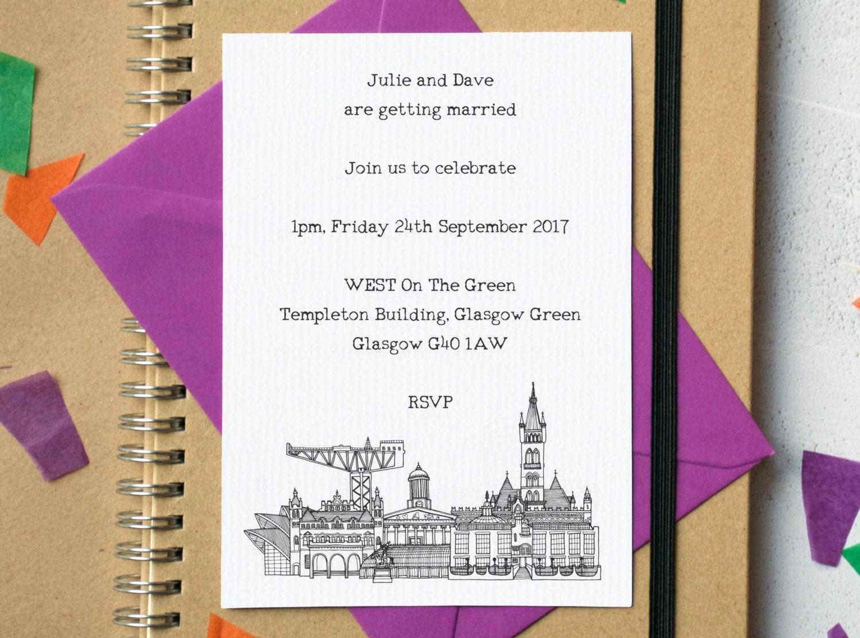 Skyline Wedding Invites Landmark Wedding Invitations