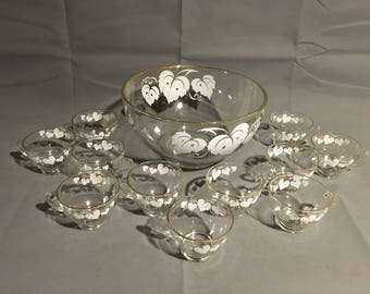 Vintage Glass Punch Bowl and 12 Matching Punch Cups White Leaf Design w/ Gold Trim