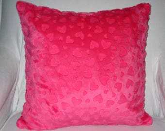 "Minky Fuchsia Pink Valentine's Day Heart Plush Decorative Throw Pillow with Insert  18"" Square US Made"