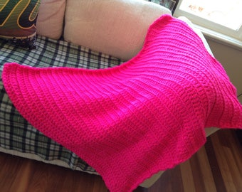 Chunky Crochet Baby Blanket/Wool Throw Toddler Afghan -- Neon Pink (READY TO SHIP!)