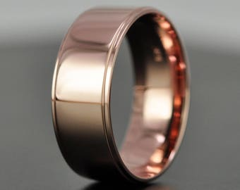 14K Rose Gold 8mm Modern Mens Wedding Band with Edge