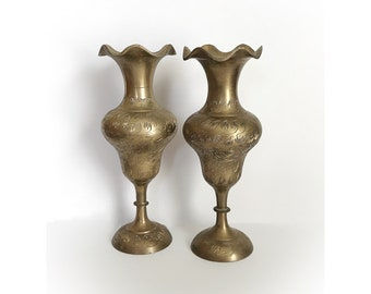Vintage Pair of Etched Brass Vases Made in India