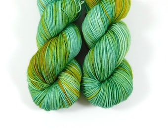 Verdigris, QCC Yarn, Squooshy Cat Yarn, Fingering Weight Yarn, Merino Wool, Green, Yellow, Gold