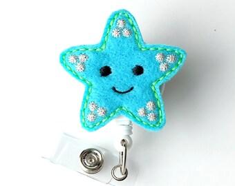 Star Fish - Name Badge Holders - Cute Badge Reels - Unique Retractable ID Badge Holder - Felt Badge Reel - RN Badge - BadgeBlooms