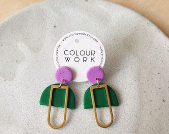 Mabel Earrings - Speckled Violet & Glitter Green with a brass rectangular silhouette.