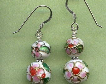 Cloisonne Sterling Silver Earrings