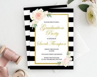 Graduation Invitation, Graduation Party Invitation, Graduation Invite, College Gradutation Invitation, Printable Invitation, Black Gold Pink