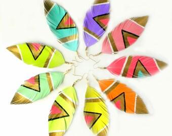 Feather Earrings, Trendy Earrings, Geometric Earrings, Tribal Earrings, I love the 80s, Painted Feathers, Festival Earrings, Bohemian Style