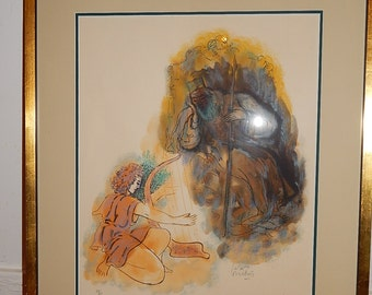 Reuven Rubin ( 1893 - 1974) Listed Artist, Limited Edition large Lithograph . Judaica