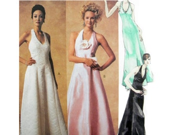2002 McCall's 3883 Lined, Softly Flared Prom/Formal/Evening Dress with Halter Style Neckline Uncut, Factory Folded Sewing Pattern Size 6-12