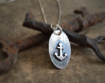 Silver Anchor Necklace, Inspirational Handmade Anchor, Refuse to Sink Gift, Silver Necklace Beach Jewelry, Ocean Jewelry, Anchor Jewelry
