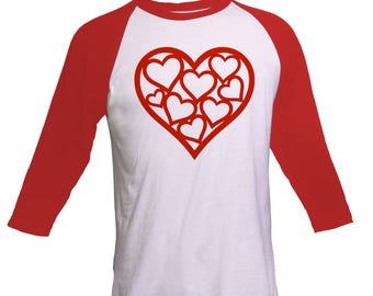 Valentines day gift, Valentines day shirt, Anniversary gift, Hearts shirt, Gift for wife, Gift for Girlfriend, Red Raglan shirt