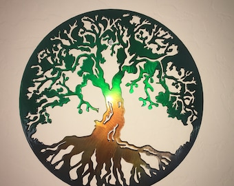 Plasma Cut Kandy painted Tree of life Metal Mancave Garage Wall Art Home Decor