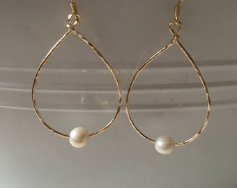 Gold Filled <> White Pearl <> Gold Teardrop Hoops