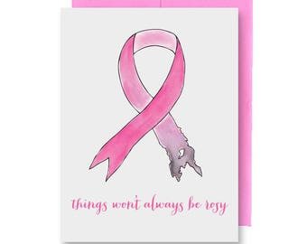 Breast Cancer Card - Hand Illustrated Pink Ribbon
