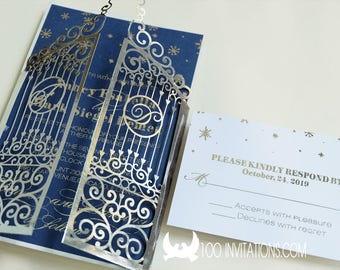 Winter wedding invitations,laser cut gate wedding invites,silver foil printing on navy paper,snowflake wedding invitation