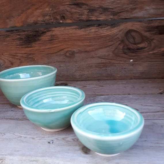 Pottery Bowl aquamarine blue set of three nesting bowls set of three perfect for sauces, salsa wedding gift. Nesting bowls