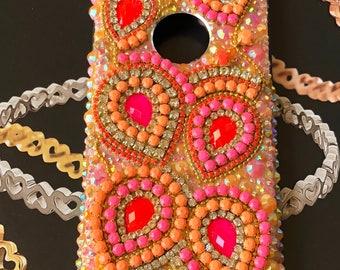 RHINESTONE phone case, IPHONE 8 case, craft embellishment, iPhone 7 case, cute phone case, pink phone case,  phone skin, electronics cases