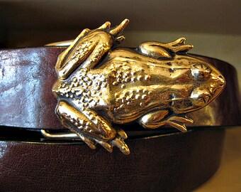Ribbit Frog Leather Belt