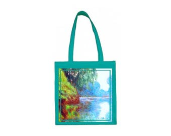 unique tote bag with quiet lake oil painting // any painting is possible // artistic apparel // impressionism expressionism art monet